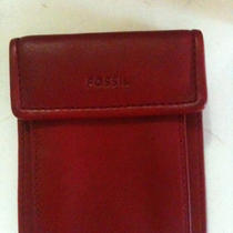 New Vintage Women's Fossil Compact Leather Wallet Red Free Ship Photo
