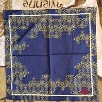 New Vivienne Westwood Blue Yellow Cotton Orbs Hanky Scarf 40cm X 40cm Photo