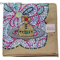 New Vivienne Westwood Cotton Scarf Glitter Spangle Orb Lace Japan-Made Beige Photo