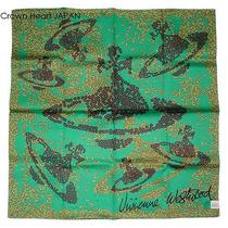 New Vivienne Westwood Cotton Scarf  Orb & Spangle Print Green Japan Made Rare Photo