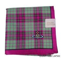 New Vivienne Westwood Handkerchief Mini-Scarf Tartan Check Orb Violetred Pink Photo
