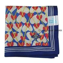 New Vivienne Westwood Handkerchief / Mini Scarf Heart Print Navy-Blue-Border Jp Photo