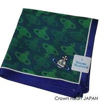 New Vivienne Westwood Handkerchief / Mini Scarf Orb Weave Blue Green Japan-Ltd Photo