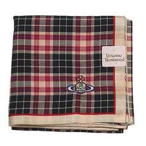 New Vivienne Westwood Handkerchief Mini-Scarf Tartan Check Orb Beige Black 48cm Photo
