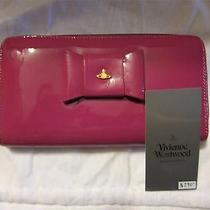 New Vivienne Westwood Pink Patent Long Wallet W/bow & Great Storage - Msrp 290 Photo