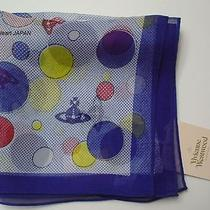New Vivienne Westwood Silk Sheer Scarf Square Orb Dot Blue Japan-Made Rare Photo