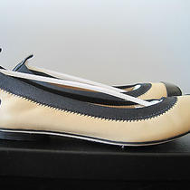 New W/box Authentic Chanel Beige/black Cap Leather Flats  8.5  39.5 Italy Photo