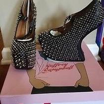New W/box Jeffrey Campbell Black Leather Heel Less Shoes W/studs  sz.7.5 Photo
