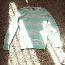New W/o Tags Express Mint Green & White Perforated Stripe Sweater S Photo