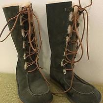 New W/out Box Ugg Women's Size 7 Green Suede Lace-Up Boots W/shearling Lining Photo
