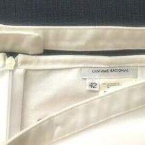 New W/out Tag Costume National White Cotton Pencil Zipper Skirt Belt Italy 42/6 Photo