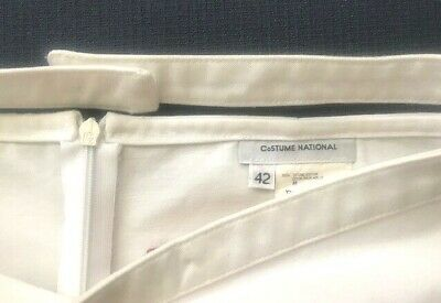 New w/out tag COSTUME NATIONAL white cotton pencil zipper skirt belt, Italy 42/6 Photo