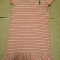 New W/out Tag Ralph Lauren Girls Pink With White Linesruffled Dress Size Xl(16) Photo