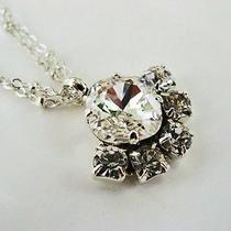 New W/swarovski Clear Cushion Cut Crystal Pendant Necklace Photo