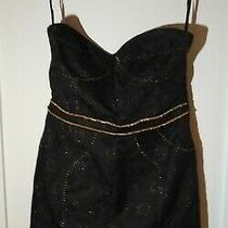 New W/ Tag Madison Marcus Strapless Black Dress With Gold Size M Msrp 215 Photo