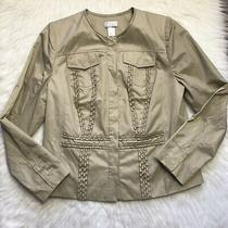 New W/tag Womens 128 Lane Bryant Button-Up Tan Snap-on Jacket Size 14 Photo
