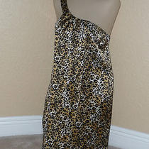 New W/ Tags 285 Lacey Parker Womens Dress Sz M Silk Leopard Print One Shoulder Photo