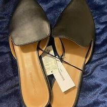 Neww/tags Banana Republic Closed-Toe 8 Black Leather Slide Mules Flat Classic Photo