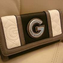 New W Tags Black White Leather Like Women's Guess Wallet Check Book Catriona Photo