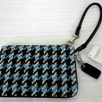 New W/tags Coach Black Leather Blue White Wool Wristlet Bag Handbag Purse Photo