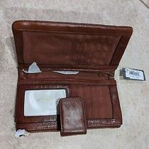 New W/ Tags Fossil Ellis Clutch Brown Leather Tab Snap Zip Id Slot Wallet 75 Photo