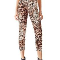 New W Tags Guess Women's Leopard Satin Capri Pants Shirred Ankle M 79 Photo