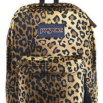 New W Tags Jansport  Black/beige Plush Cheetah Fur Backpack Animal Photo