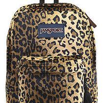 New W Tags Jansport  Black/beige Plush Cheetah Fur Backpack Animal Photo