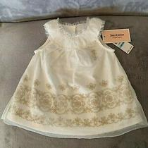 New W/tags Juicy Couture Baby Girl White Dress W/ Gold Flowers 6/9 Month 60.00 Photo