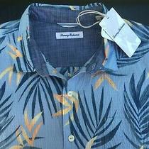 New W/tags Tommy Bahama Fiesta Fronds Camp Shirt Xl Fluid Blue Retail 110 Photo