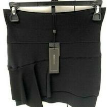 New W Tags Womens Bcbg Maxazria Black Bandage Skirt W Ruffle Assymetrical Hem Xs Photo