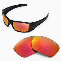 New Walleva Fire Red Replacement Lenses for Oakley Fuel Cell Sunglasses Photo