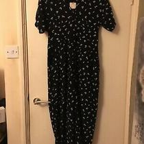 New Whistles Camilla Print Button Jumpsuit Size 14 Rrp 139 Black and White Photo