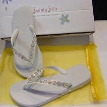 New White Havaianas Jaunty Jills Swarovski Crystal Flip Flops Sandals Wedding 7 Photo