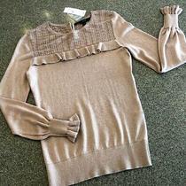 New White House Black Market Blush/metallic Gold Mini-Ruffle Sweater Nwt 89 Xs Photo