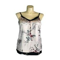New White House Black Market Large Top Tank Satin Blush Pink Cherry Blossom Sexy Photo