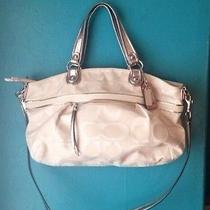 New White/silver Coach Purse Satchel  Shoulder Bag Photo