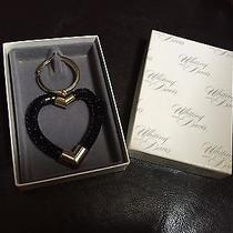 New Whiting & Davis Black & Gold Mesh Heart Shaped Key Chain Ring in Gift Box Photo