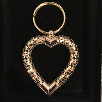 New Whiting & Davis Gold Mesh Heart Shaped Key Chain Ring in Gift Box Photo