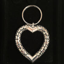 New Whiting & Davis Silver Mesh Heart Shaped Key Chain Ring in Gift Box Photo