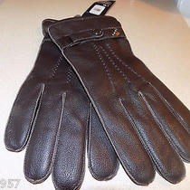 New Winter Mens Tommy Hilfiger  Gloves Brown Leather Gloves Sz L/xl 89 Photo