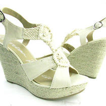 New With Box American Rag Women's Size 9m Natural Platform Wedge Sandal Gloria Photo