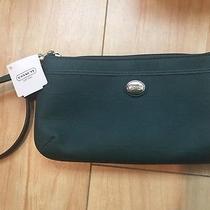 New With Box Coach Dark Green Wristlet Bag/phone/wallet/card Photo