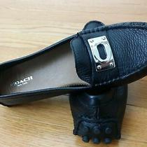 New With Box Coach Women 8 Black Pebbled Leather Flats Loafer Driving Moccasin  Photo
