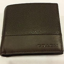 New With Defects Coach Large Leather Dark Mahogany Men's Wallet F74634 Photo
