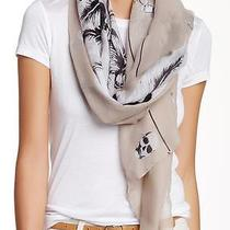 New With Tag - 54.00 Cara Accessories Blush Skull & Feather Print Scarf Photo