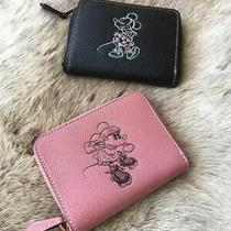 New With Tag Coach Small Zip Around Wallet Pink Minnie Mouse Motif F29377 195 Photo