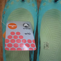 New With Tag Crocs Adrina Aqua Celery Green Jelly Peep Toe Ballet Flats Size 9 Photo