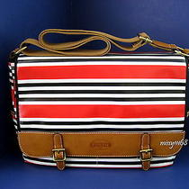 New With Tag Fossil Keyper Messenger Red Stripe Shb1134629 Laptop Brief Case Photo