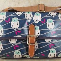 New With Tag Fossil Snow Owl Navymini Keyper Crossbody   Purse Nice Gift Photo